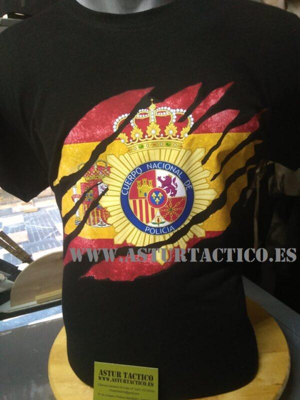 Camiseta Policia Nacional con bandera rasgada