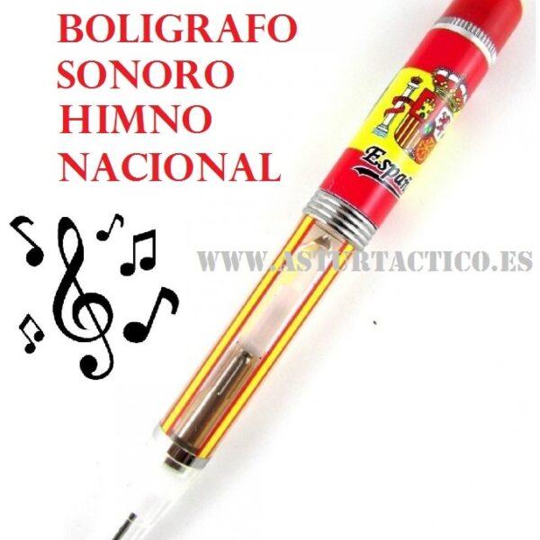 Boligrafo con bandera de España y escudo Constitucional. Al tocar el pulsador sale la punta del boligrafo para poder escribir, se enciende una luz y suena el himno Nacional.