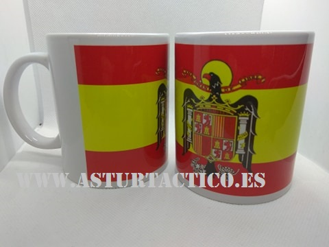 TAZA BANDERA DE ESPAÑA CON AGUILA DE SAN JUAN